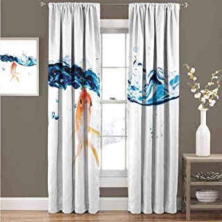GUUVOR Fish All Season Insulation Goldfish Swimming Under Surface of Clear Water Fishbowl Liquid Motion Abstract Style Noise Reduction Curtain Panel Living Room W84 x L108 Inch Blue Orange