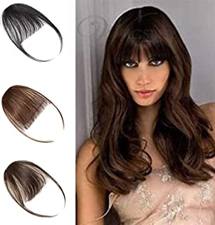 Clip in on Air Bangs One Piece Fringe 100% Remy Human Hair Extensions Hairpiece Full Front Neat Air Fringe Hand Tied Straight Flat Bangs with Temples for Women 3g(0.1 oz) Dark Brown