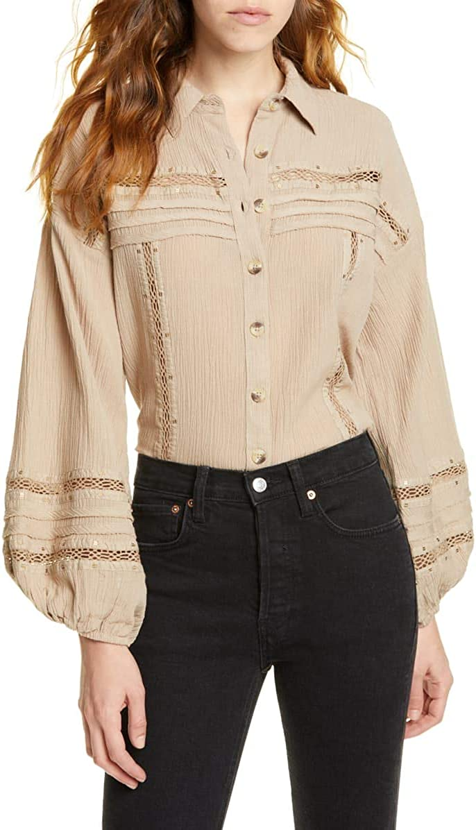 Free People Summer Stars Button Front Gauzey Top, Stone (XSmall)