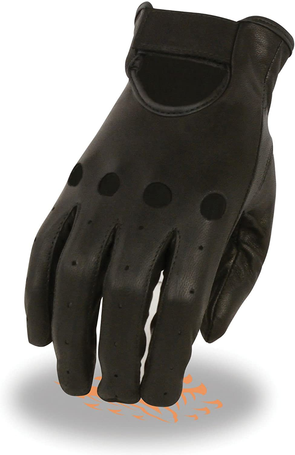 Shaf Motorcycle Women's Perforated Light Weight Driving Unlined Blk Leather Gloves (Regular)