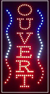 Enseigne lumineuse à LED OUVERT (vertical) Rouge/bleu/blanc 60x30x2.5cm
