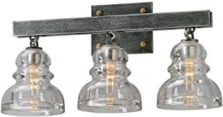 Troy Lighting Menlo Park 3-Light Vanity - Old Silver Finish with Historic Pressed Clear Glass