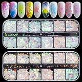 Ebanku 24 scatole Sequins del chiodo, Glitter per paillettes per unghie Mix Design Star Mo...
