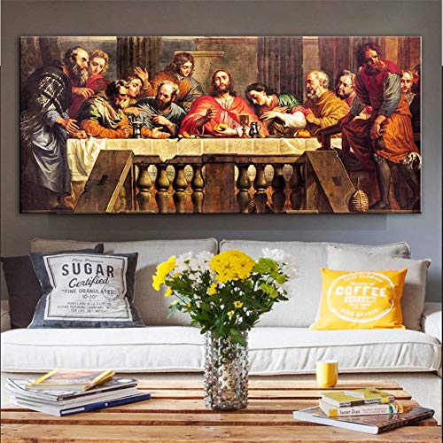 Diamond Art Painting Kits for Kids Full Drill Large Size 5D Diamond Painting Last Supper 40x120cm/16x48in Square Drill Rhinestone DIY Diamond Embroidery Cross Stitch Arts for Home Wall Decor L3753