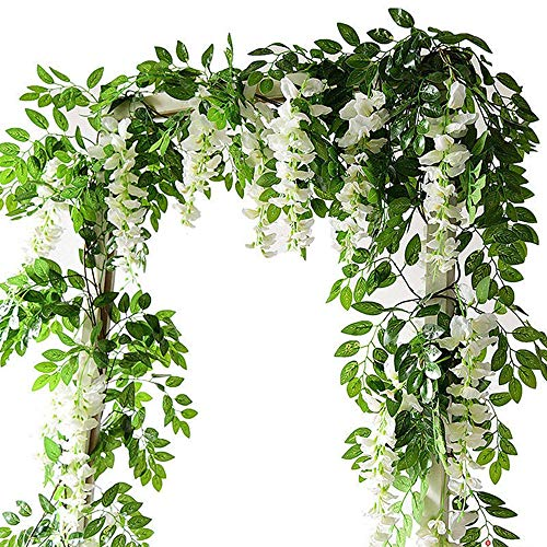Artificial Flowers Vine Garlands 2m Wisteria Vine Hanging Vine Flower Garlands for Home Wedding Garden Party Wall Decoration (White, 4PCS)
