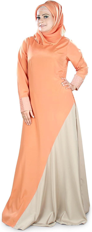 MyBatua Warm Grey & orange Islamic Women's Casual & Formal Burqa Abaya AY400