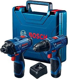 Combo Bosch 12V - Chave de Impacto GDR 120-LI + Parafusadeira e Furadeira de Impacto GSB 120-LI, 2 Baterias, Carregador BI...