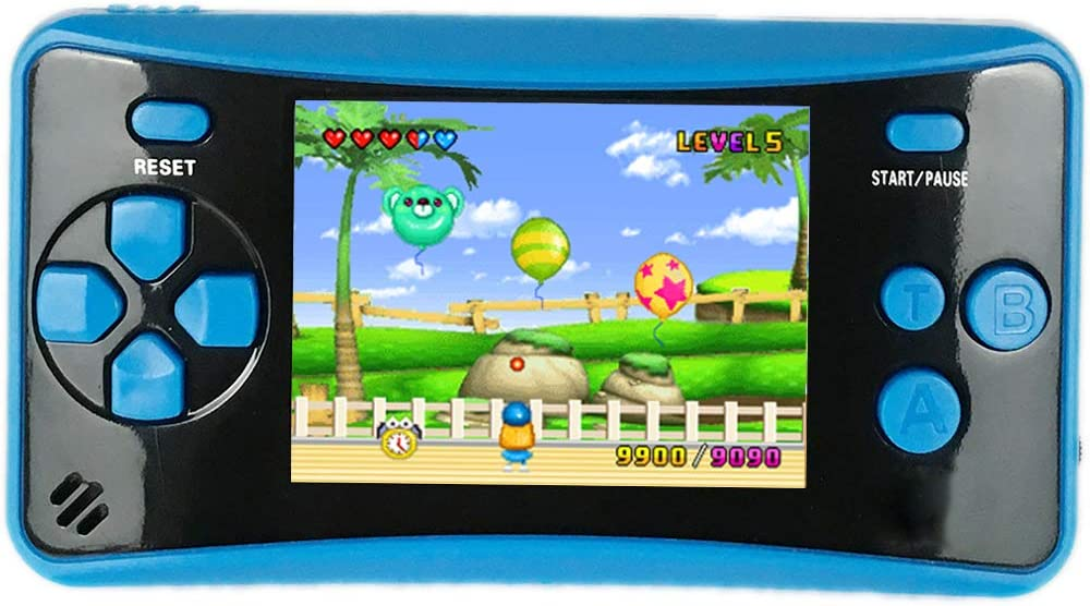 Amazon Com Higokids Portable Handheld Games For Kids 2 5 Lcd Screen Game Tv Output Arcade Gaming Player System Built In 182 Classic Retro Video Games Birthday For Your Boys Girls Blue Toys