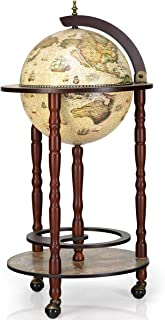 DREAMADE Bar Globe Terrestre Mappemonde,Casier/Support à Vin/Bouteilles en Bois avec 3 roulettes,Design Vintage pour Salon...