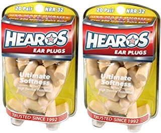 Hearos Ultimate Softness Series Foam Earplugs Designed for - Sleep, Study, Music, Travel and Auto Races - Pack of 2 (20-Pair Each)