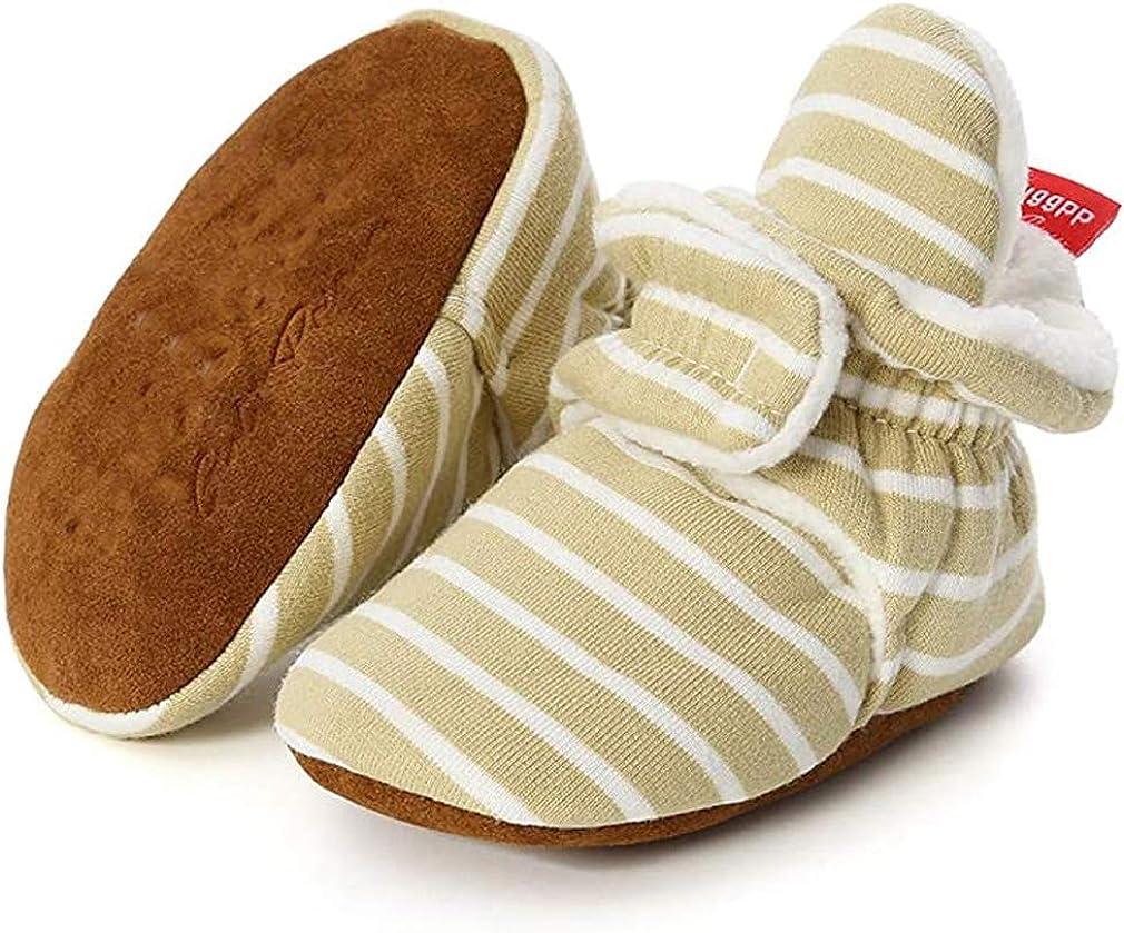 Unisex Newborn Baby Cotton Cozy Fleece Booties Non-Slip Sole for Toddler Boys Girls Infant Winter Warm Fleece Socks First Walker Crib Shoes