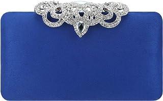 Fawziya Crown Clutch Purse Bling Hard Box Rhinestone Crystal Clutch Bag-Royal Blue
