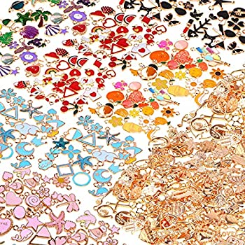 300Pcs Charms for Jewelry Making Gikasa Wholesale Bulk Assorted Gold-Plated Enamel Charms Earring Charms for DIY Necklace Bracelet Jewelry Making and Crafting