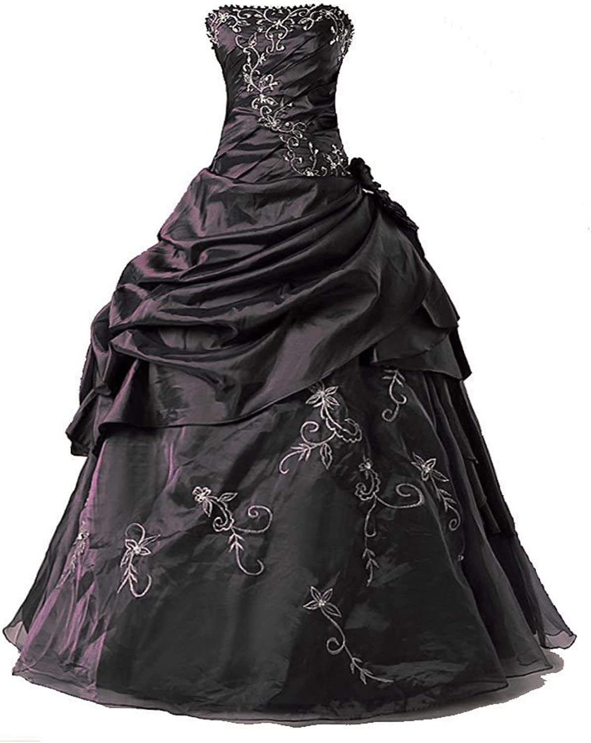 Vantexi Women's Silver Embroidery Beaded Princess Evening Ball Gown