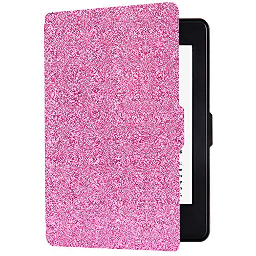 Huasiru PU Leather Case for Kindle Paperwhite, Shinning Pink - fits All Paperwhite Gens Prior to 2018 (Will not fit All-New Paperwhite 10th Gen)