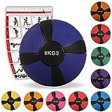 POWRX Medizinball Gewichtsball 1-10 kg | versch. Farben (8 kg/Dunkelblau)