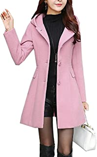 d2d26f1cd0e S S-women Sweet Heart Solid Splicing Lapel Double Breasted Side Pocket Wool Pea  Coat