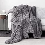 Faux Fur Throw Blankets 50x60 Inches,Pawque Soft Fuzzy Sherpa Blankets for Sofa, Couch and Bed,Plush Fluffy Fleece Blankets, Long Hair Blanket, Grey