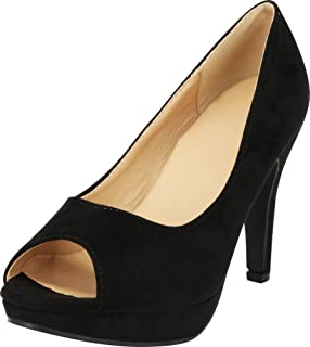 Cambridge Select Women's Classic Platform Peep Toe High Heel Dress Pump