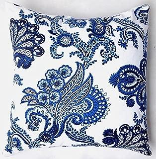 TAOSON Chinese Old Blue Print Cotton Blend Linen Pillow Sofa Throw Pillow Case Decor Cushion Cover (18