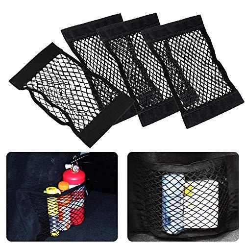 Vegena 4 Stück Kofferraum Netztasche Auto Universal Netztasche mit Klettverschluss Elastische Auto Kofferraumnetz Kofferraum Storage Netz Organizer für Auto Kofferraum Gepäcknetz Schwarz 40x25cm