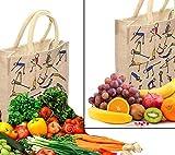 2 bolsas de yute con cierre para exteriores, diseño de patrón de yoga, hechas a mano, bolsa decorativa ecológica, bolsa de compras, reutilizable, bolsa de la compra de yute Killim