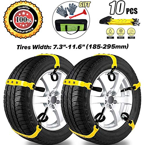 MeiLiMiYu Snow Chains for SUV Car Anti Slip Adjustable Universal Emergency Tire Chains for Tire Width 7.2-11.6
