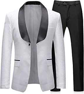 Men's 2 Piece Tuxedos Suits Blazer Vintage Groomsmen Wedding Suit Complete Outfits (Blazer+Trousers)