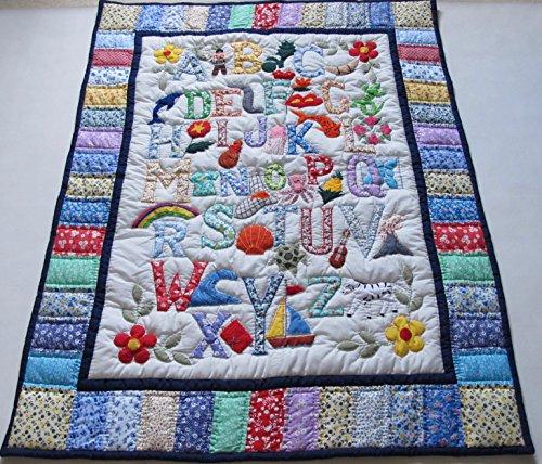 Hawaiian Style ABC Quilt Baby Crib Blanket, Wall Hanging and Machine Appliquéd