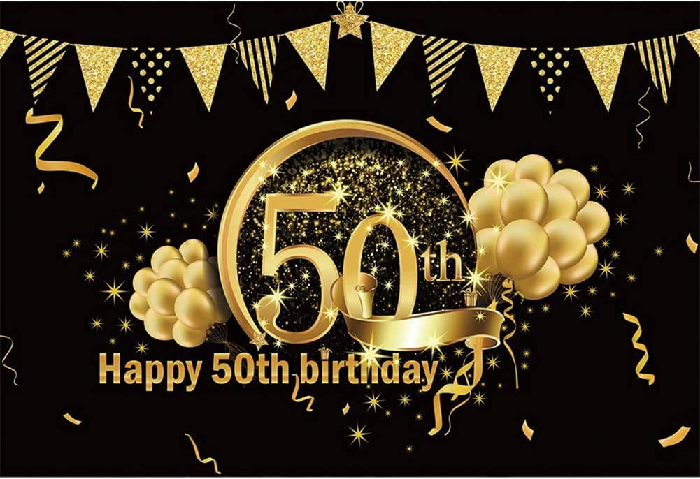 OERJU 10x8ft Happy 50th Birthday Gold Background Photography Very Max 52% OFF popular Bal