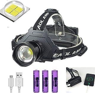 lovedayヘッドライト LEDヘッドランプ 最新超高輝度XHP70 1000ルーメン 内蔵PSE認証18650*3本充電式バッテリー 90°点灯20時間 調整可能 防災 登山 夜釣り作業 長時間型 (黒)