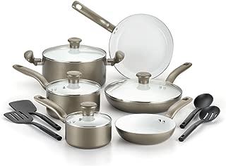 T-Fal C728SE74 Initiatives Ceramic Nonstick Cookware Set44; Champagne - 14 Piece Set