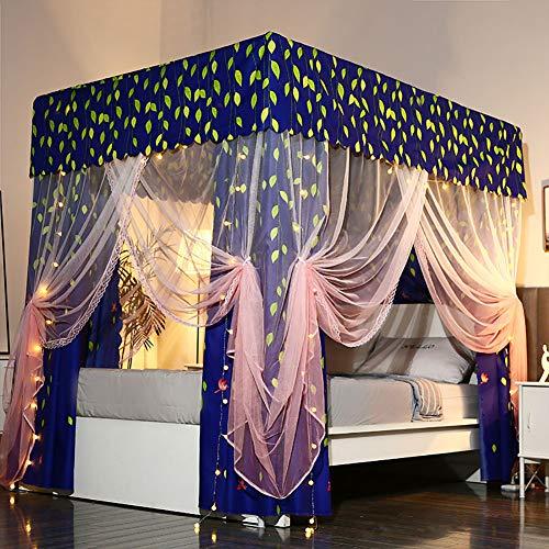 LINLIN Prinses Muggennetje Dubbel Stofdicht Schaduwdoek Bed Luifel Kant Zijkant Netto Tent 360 ° Ongediertebestrijding Binnen Decoratie Hoogte 195CM