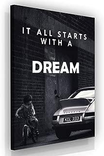 It All Starts with A Dream Motivational Wall Art Canvas Print, Office Decor, Inspiring Framed Prints, Inspirational Porsche 911 Wall Art Decoration Quotes (48