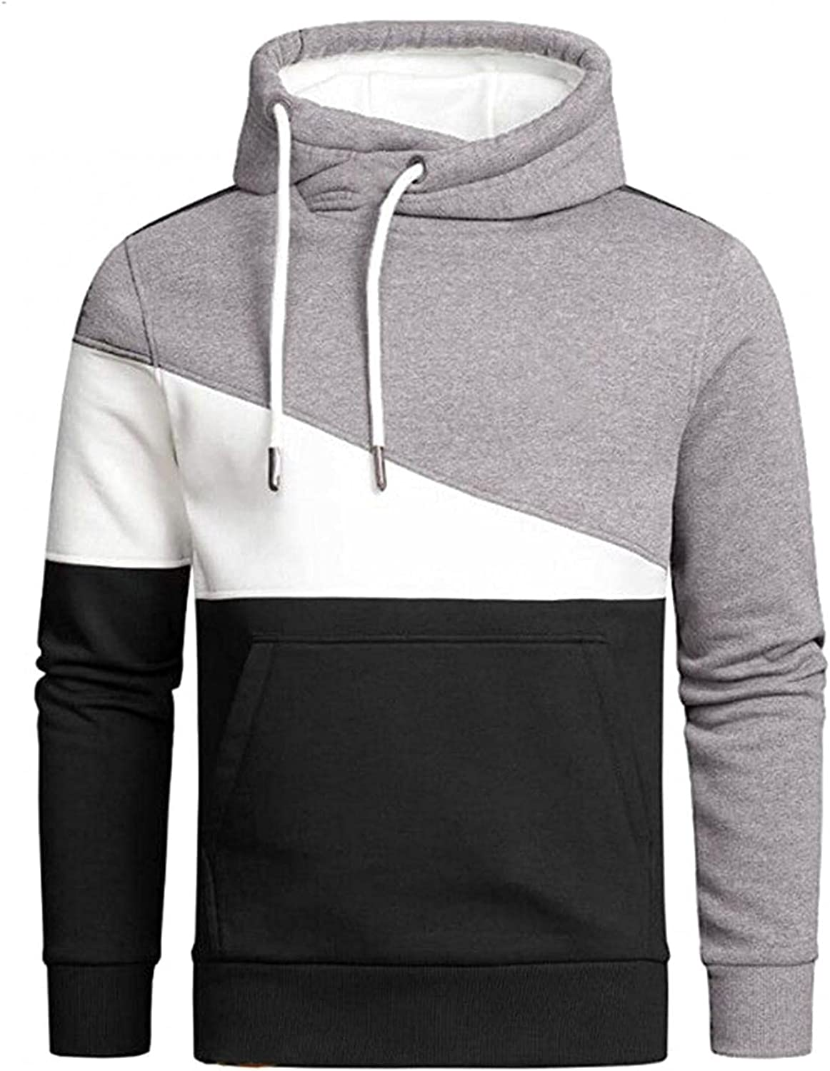 Qsctys Mens Sweatshirts Hoodies Casual Patchwork Color Front Pocket Sports Hooded Pullover Slim Crewneck Long Sleeve Outwear