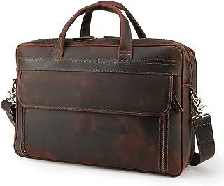 Men's Vintage Leather Messenger Satchel Casual Case Slim Multi-purpose School Travel Business 17 Inch Laptop Computer Large Briefcase Shoulder Crossbody Bag Tote Handbag Brown