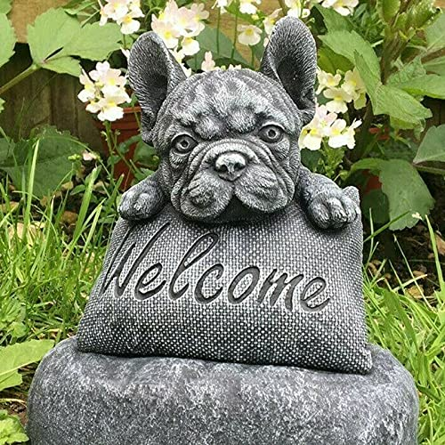 LEFUYAN French-Bulldog Statue Welcome Sign Garden Outdoor Decoration Stone Resin Craft Ornament Indoor Sculpture