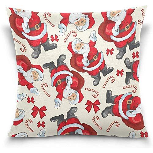Moily Fayshow Dekokissen Fall Dekorative Kissenbezug Platz Kissenbezug, Weihnachten Cartoon Weihnachtsmann Candy Schlafsofa Kissenbezug Abdeckung 40 X 40 cm
