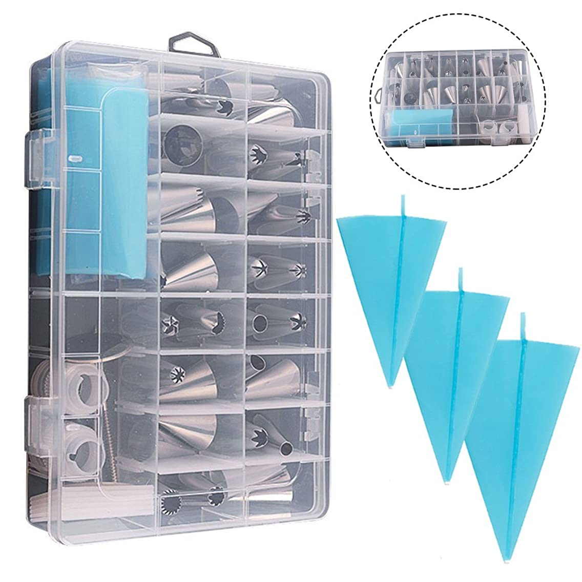 39PCS Pastry Tube Set Piping Tips with Storage Case.Include Icing Tips, Large Piping Nozzles, Couplers, Silicone Pastry Bags, Flower Nails, Icing Smoother, Baking Decoration Tools for Cake Cookies