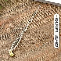 ACHICOO 書道ペン 樹脂製 傾斜ロッド 3段 丸頭 英語 学生 学校 文房具(ペン先なし) 透明な金粉3セクションロッド