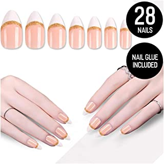 Tip Beauty White Gold Nail Kit, French Twist, Faux Nails for Women, Fake Nails for Kids, Glue on Nails, Instant Nails for Ladies, False Nails with Glue - MSRP $18