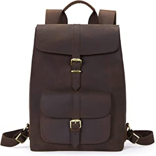 BOSTANTEN Leather Backpack 15.6 inch Laptop Backpack Vintage Travel Office Bag Large Capacity School Shoulder Bag Brown Brown Large (L)12.79 x (H)16.93 x (W)6.3 inches
