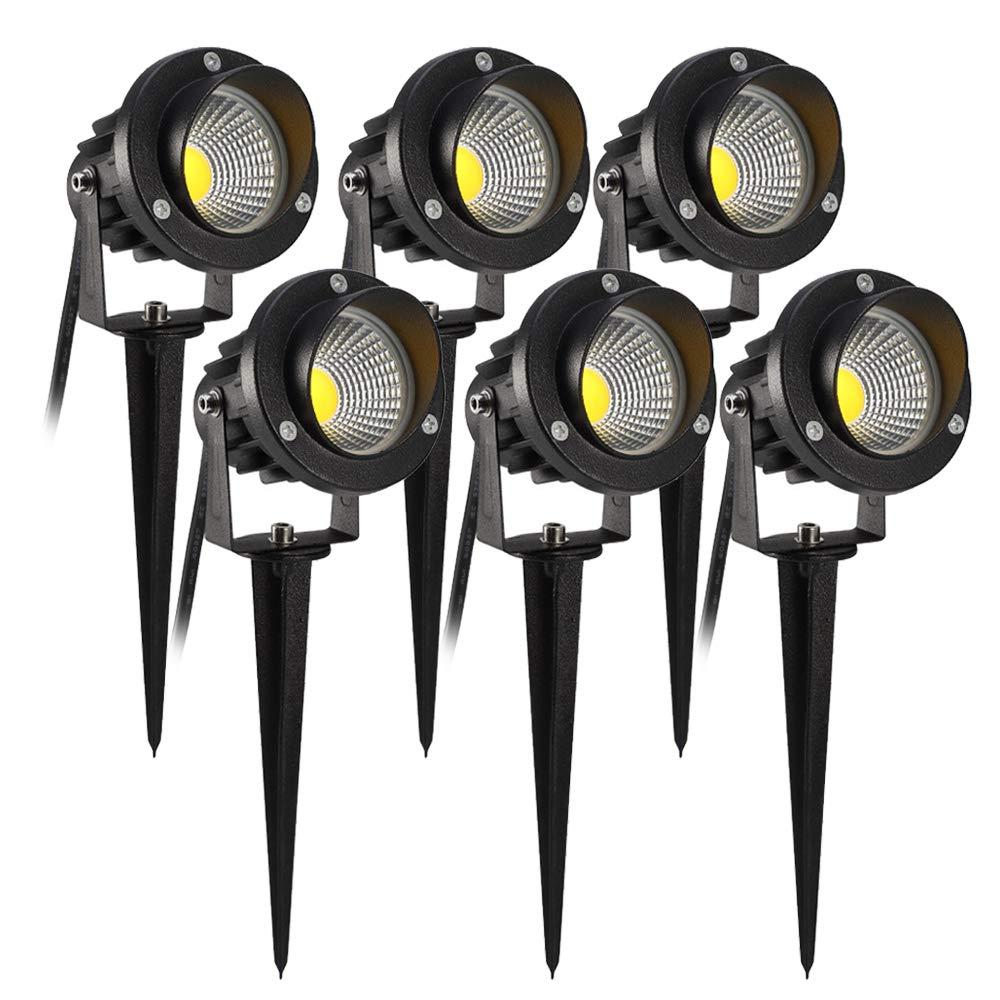 Foco Luces del Jardín, B-right 6 pack Iluminación de Jardín, IP66 LED Luz de Exterior, 3000K Blanco Cálido, 6 * 5W, 3000 Lúmenes, Lámpara de Jardín para Jardín, Patio, Camino,etc: Amazon.es: Iluminación
