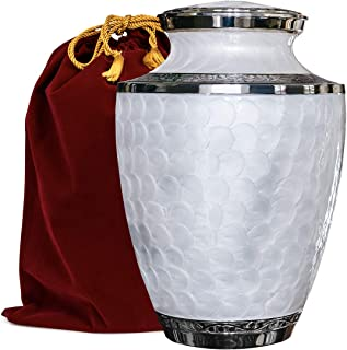 Everlasting Love Beautiful and Timeless White Adult Cremation Urn For Human Ashes - This Large Elegant Mother of Pearl Enamel and Nickel Urn Is a Perfect Tribute to Honor Your Loved One - w Velvet Bag