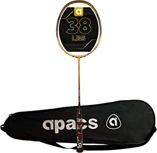 APACS Turbo Power 996 Unstrung Graphite Badminton Racquet, 38 LBS Mega Tension (with Full Cover)