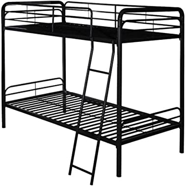 Home Décor Metal Single Bunk Bed with Ladder Multifunctional Design Space Saving