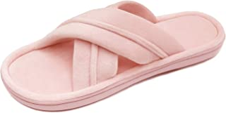 BCSTUDIO Women's Open Toe Cross Band House Slippers