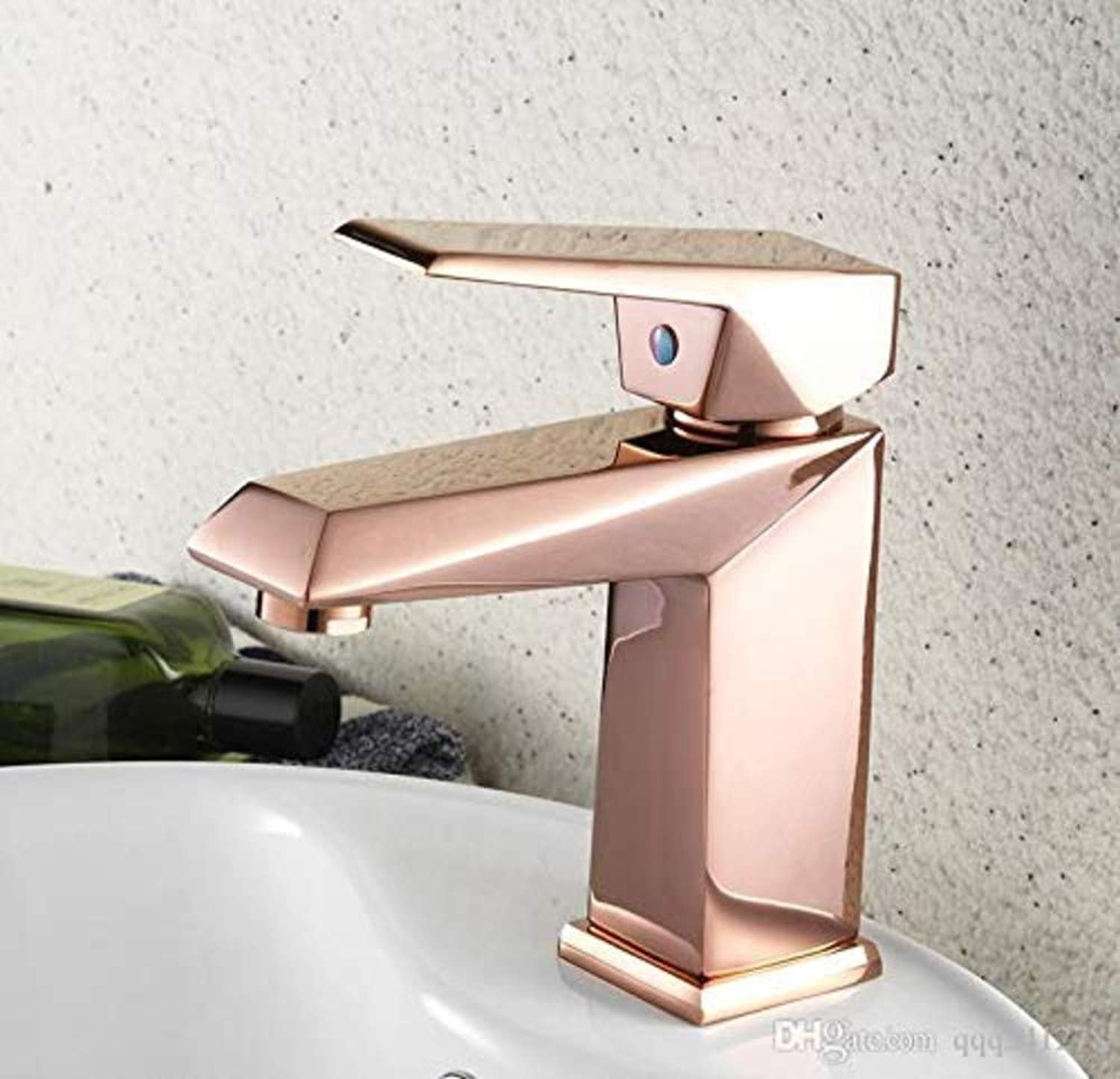 360° redating Faucet Retro Faucet Bathroom Mini Stylish Elegant Sink Faucet Single Handle pink gold Sink Faucets