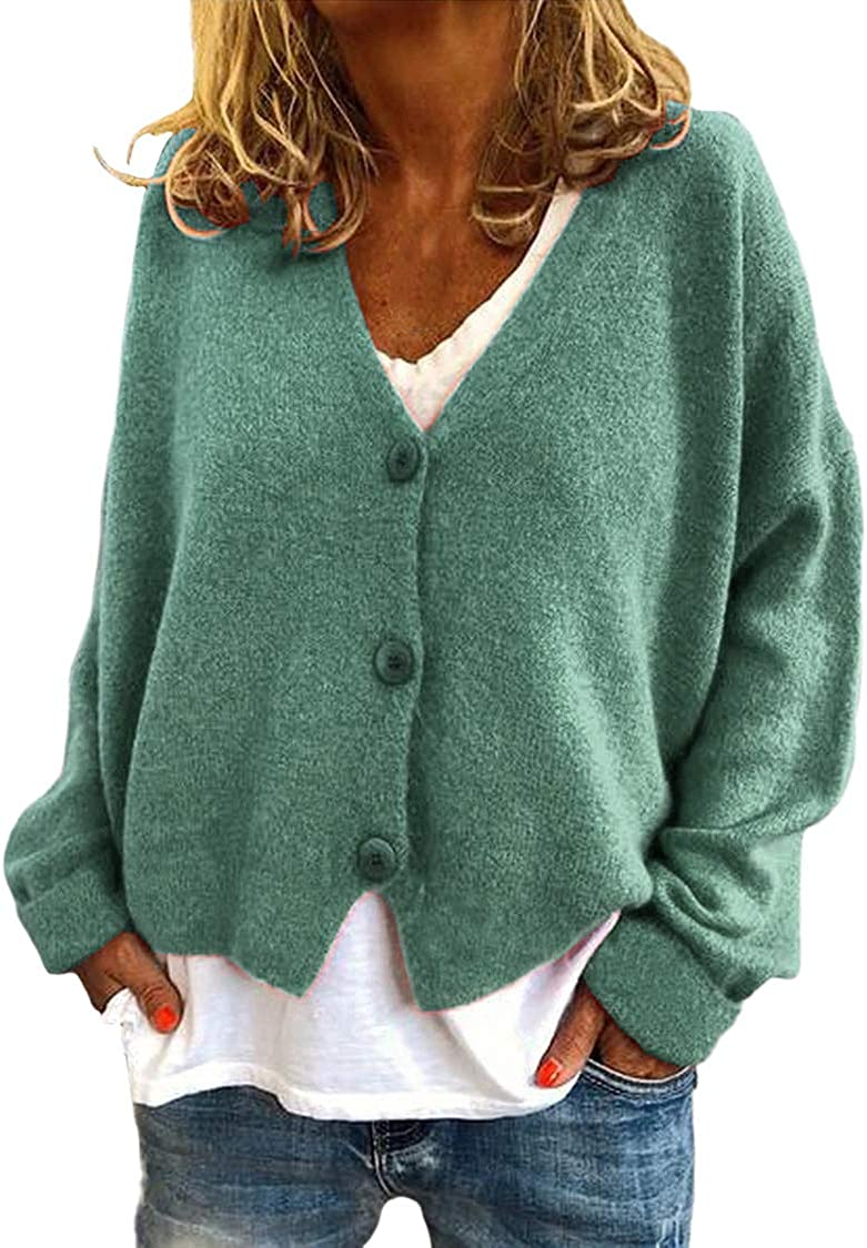 Women's Casual Loose Knitted Cardigan V Neck Drop Shoulder Button Open Front Sweater