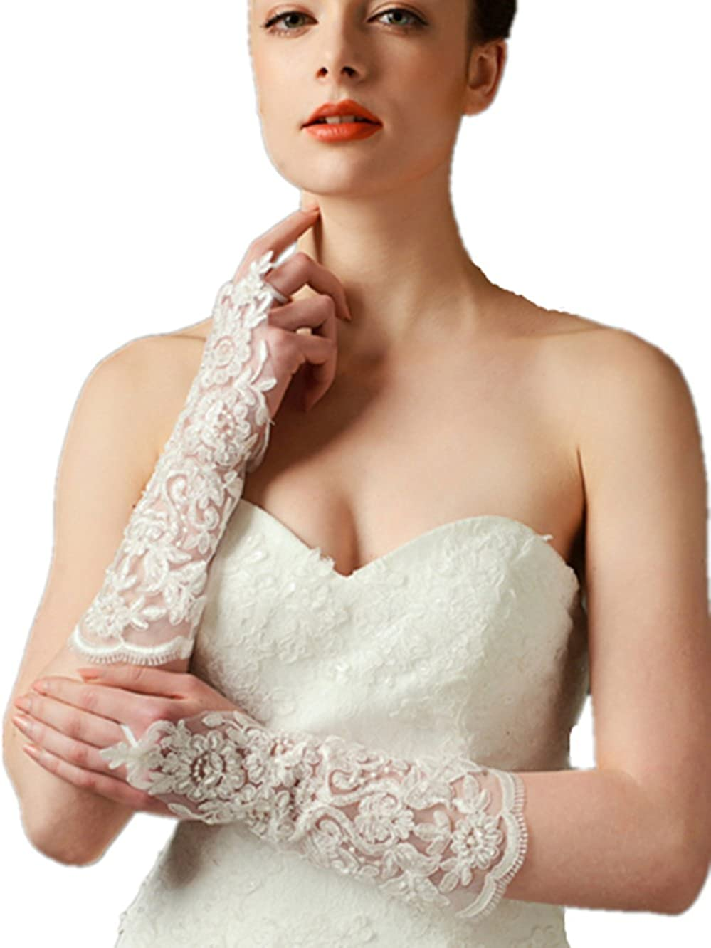 CL Ladies' Long Fingerless Lace & Knitting Gloves for Bridal Wedding Evening Party